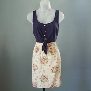 Solemio Tie Waist Floral Sleeveless Dress Medium